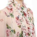 Rose Print Ruffled Blouse, ${color}