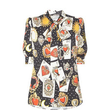 Playing Card Print Blouse