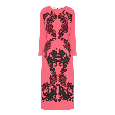 Floral Embroidery Wool Crepe Dress, ${color}