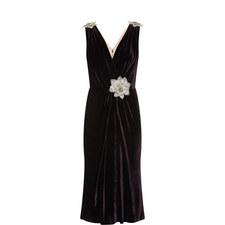 Corsage Detail Velvet Dress