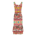 Sleeveless Mixed Print Midi Dress, ${color}