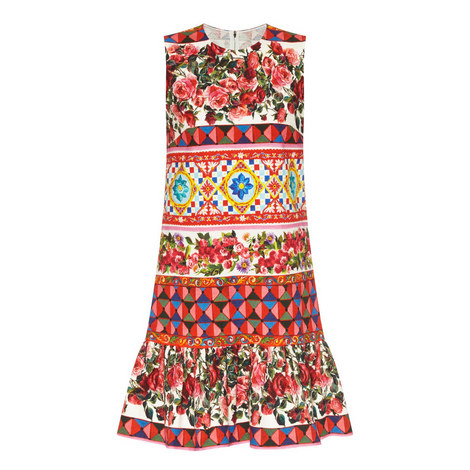 Printed Fluted Shift Dress , ${color}