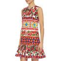 Printed Fluted Shift Dress, ${color}