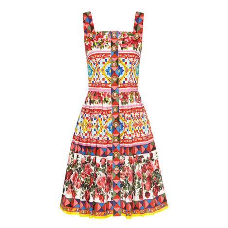 Printed A-Line Dress, ${color}
