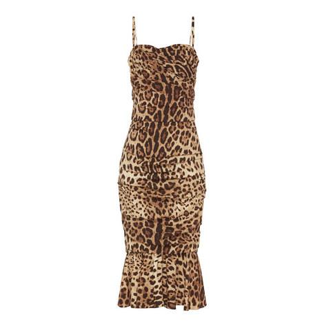 Leopard Print Midi Dress, ${color}