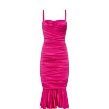 Ruched Silk Midi Dress