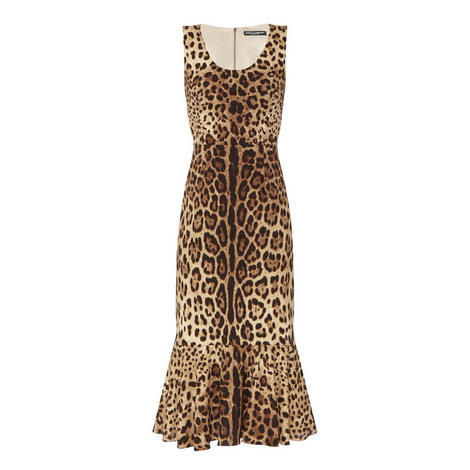 Frilled Hem Leopard Print Dress, ${color}