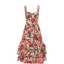 Rose Print Ruffled Hem Dress