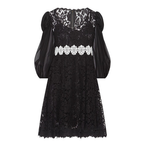 Chiffon Sleeve Lace Dress, ${color}