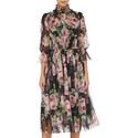 Rose High Neck Chiffon Dress, ${color}