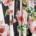 Striped Rose Print Kaftan, ${color}