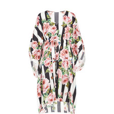 Striped Rose Print Kaftan