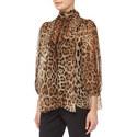 Leopard Print Silk Chiffon Blouse, ${color}