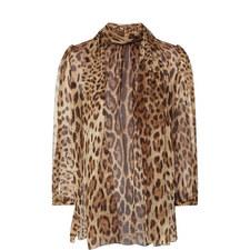 Leopard Print Silk Chiffon Blouse