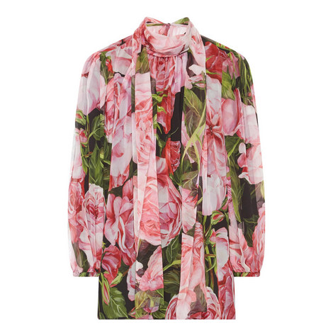 Floral Print Chiffon Blouse, ${color}