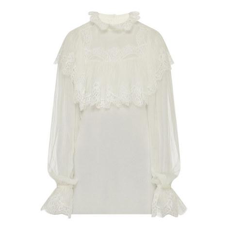 Ruffled Silk Chiffon Blouse, ${color}