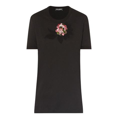 Floral Appliqué T-Shirt, ${color}