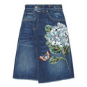 Denim Hydrangea Motif Skirt, ${color}