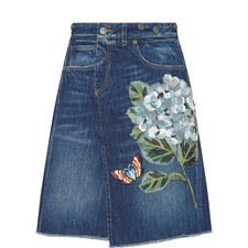 Denim Hydrangea Motif Skirt