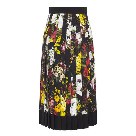 Long Pleated Floral Skirt, ${color}