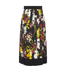 Long Pleated Floral Skirt