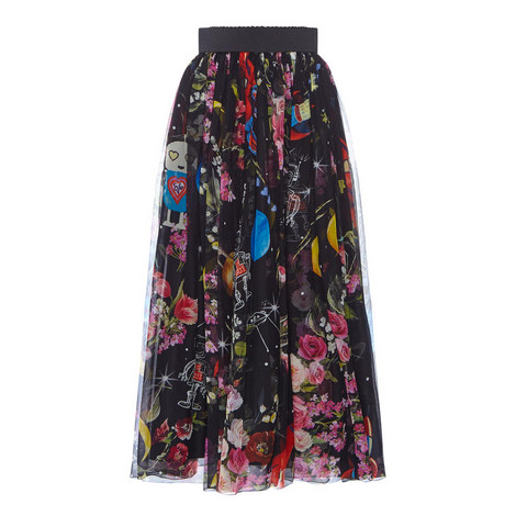 Contemporary Print Chiffon Skirt, ${color}