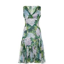 Sleeveless Hydrangea Print Dress