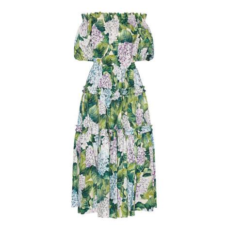 Hydrangea Print Off-Shoulder Dress, ${color}