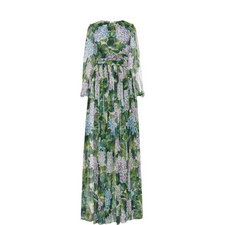Hydrangea Print Tie-Waist Dress