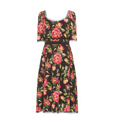 Square Neckline Floral Dress