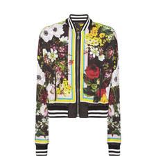 Floral Cropped Bomber Jacket