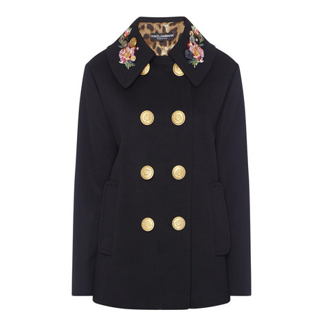 Double-Breasted Floral Collar Coat, ${color}