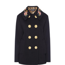 Double-Breasted Floral Collar Coat