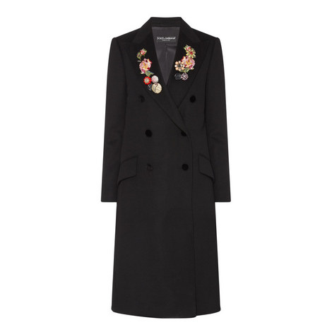 Double-Breasted Floral Lapel Coat , ${color}