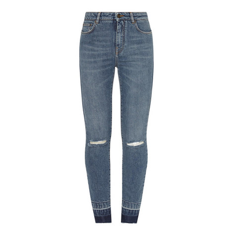 High-Waisted Destroyed Skinny Jeans, ${color}