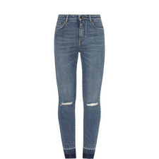 High-Waisted Destroyed Skinny Jeans