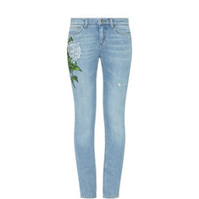 Skinny Fit Hydrangea Motif Jeans