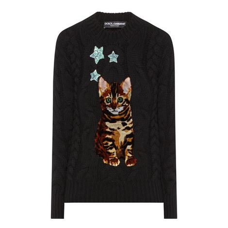 Cat Appliqué Cable Knit Sweater, ${color}