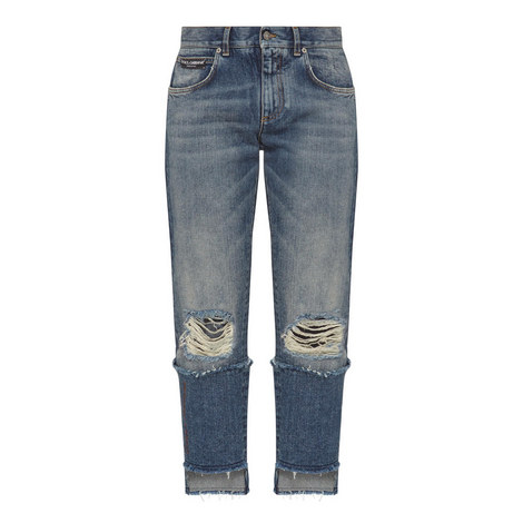 Cropped Step Hem Jeans, ${color}