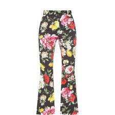 Floral Print Flared Trousers