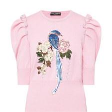 Rose Bird Appliqué Sweater