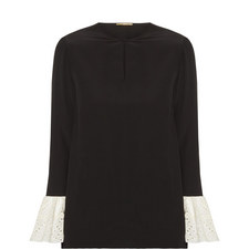 Broderie Anglaise Cuff Blouse