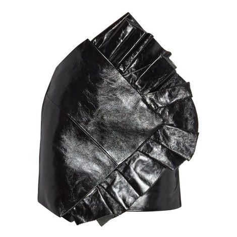 Leather Ruffle Skirt, ${color}