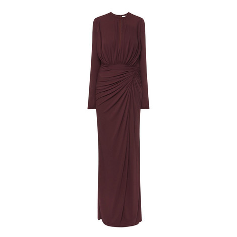Long Sleeve Ruched Gown, ${color}