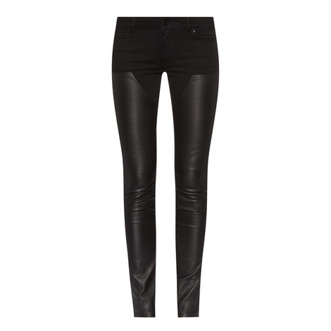 Leather Patch Skinny Jeans, ${color}