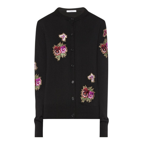 Floral Embroidered Cardigan, ${color}
