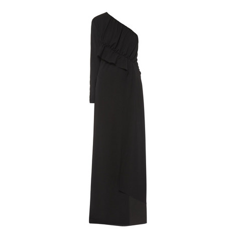 Ruched One-Sleeve Gown, ${color}
