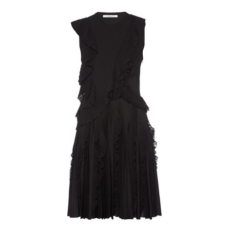 Sleeveless Ruffle Pleat Dress, ${color}