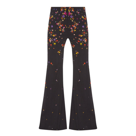 Flared Floral Print Trousers, ${color}