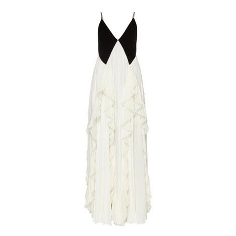 Velvet Crêpe Pleated Gown, ${color}